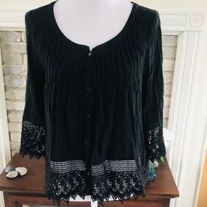 AE Outfitters Black 3/4 Sleeve Blouse Lace S/P